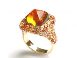 Bague en citrine avec saphirs oranges, jaunes, diamants bruns et or jaune