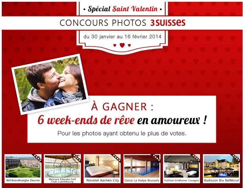 Gagnez un week-end pour le St Valentin grâce aux 3 Suisses !