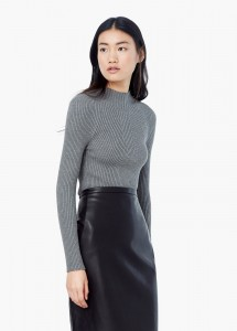 pull mango gris maille